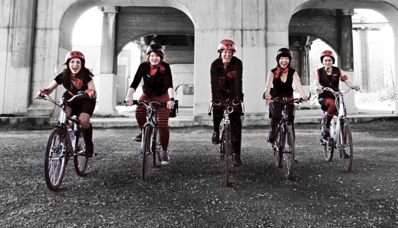 B:C:Clettes On Bikes Under The Burrard Bridge